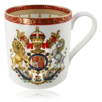 The official commemorative Coronation English fine bone china coffee mug with a design featuring a royal coat of arms cicled by gold ornamental features on a red background border