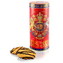 Coronation chocolate layered biscuit tin featuring the lion and unicorn royal coat of arms surrounded by gold ornamental patterns on a red background. Commemorative of Her Majesty The Queen's Coronation day.