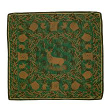 green silk scarf with a gold stag at the centre and surrounded by gold castles, bagpipes and unicorns