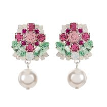 Pink, green and clear crystals forming a pink rose design with a pearl drop.