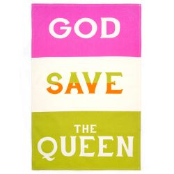 Buckingham Palace God Save The Queen Neon Tea Towel