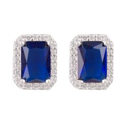 Buckingham Palace Blue Rectangle Earrings