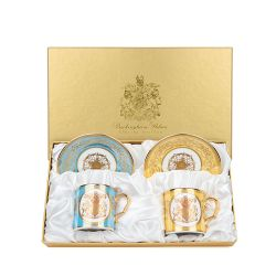 Lustre Coffee Cup and Saucer Two Set Turquoise and Yellow