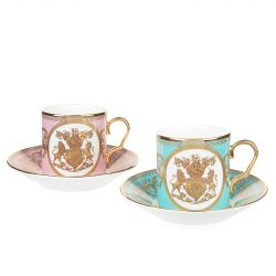 Lustre Coffee Cup and Saucer Two Set Pink and Green