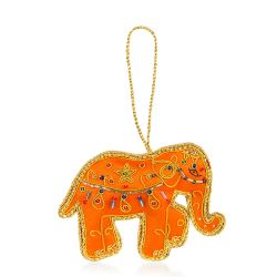 Splendours of the Subcontinent Orange Elephant Decoration