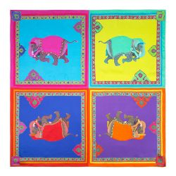 Splendours of the Subcontinent Four Elephant Silk Scarf