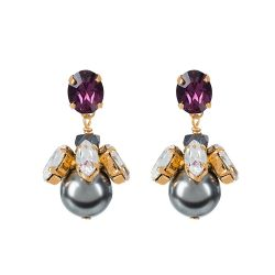 Vicki Sarge Purple Crystal and Pearl Drop Earrings