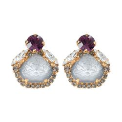 Vicki Sarge Purple Crystal Stud Earrings