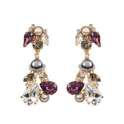 Vicki Sarge Purple Crystal Large Drop Clip Earrings