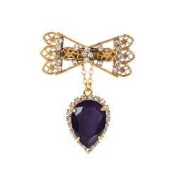 Vicki Sarge Purple Crystal Bow Pin Brooch