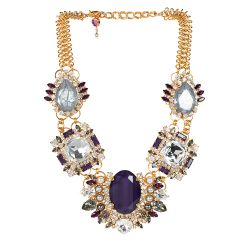 Vicki Sarge Purple Crystal Statement Necklace