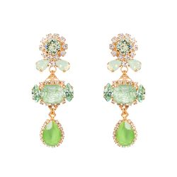 Vicki Sarge Pastel Green Three Crystal Drop Earrings