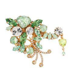 Vicki Sarge Pastel Green Crystal Brooch