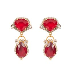 Vicki Sarge Ruby Red Crystal Drop Earrings