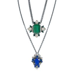 Vicki Sarge Sapphire Blue and Emerald Green Crystal Pendant Necklace