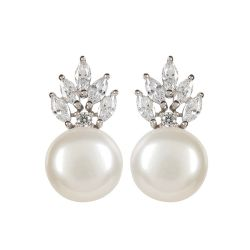 Buckingham Palace Crown and Pearl Stud Earrings