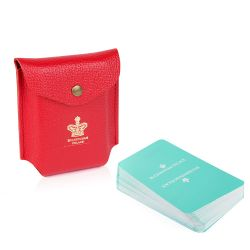 Buckingham Palace Red Leather Pouch With Playing Cards