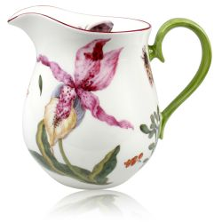 Chelsea Porcelain Milk Jug with a design featuring a botanical pattern on the inner and outer side.