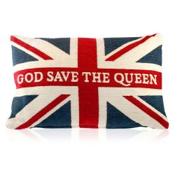 Buckingham Palace Union Flag chenille cushion with the words God Save The Queen written along the horizontal line of the flag.