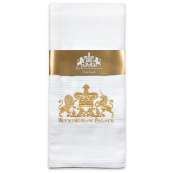 Buckingham Palace logo pack of 2 waffle tea towels. Each white cotton tea towel features the gold embroidered words Buckingham Palace under a lion and unicorn crest.