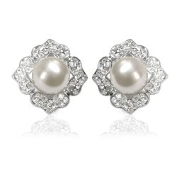 Pair of diamond shape base metal earrings featuring a large pearl in the middle surrounded by embeded  crystal stones.