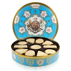 Coat of Arms shortbread biscuit selection tin with a design featuring the Royal coat of arms surrounded by flower and gold decorative patterns on a light blue background and gold rims.