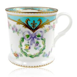 Great Exhibition fine bone china tankard with a design featuring gold plated rims, gold decorative and pastel coloured floral patterns.