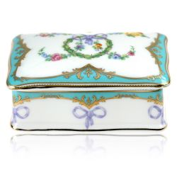 Great Exhibition fine bone china pillbox with a design featuring gold plated rims, gold decorative and pastel coloured floral patterns.