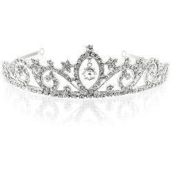 Crystal metal tiara featuring a central crystal bead drop surrounded with embeded sparkling crytals over an ornated band with wave form shapes.