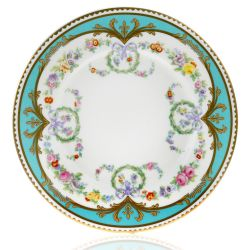 Great Exhibition fine bone china side plate with a design featuring gold plated rims, gold decorative and pastel coloured floral patterns.