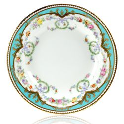 Great Exhibition fine bone china soup plate with a design featuring gold plated rims, gold decorative and pastel coloured floral patterns.