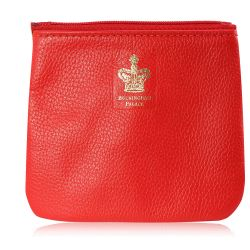 Buckingham Palace red leather coin purse featuring a gold crown print with the words Buckingham Palace writen below.
