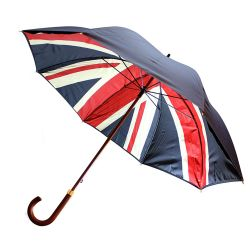 Union Flag walking stick umbrella, Buckingham Palace branded with a double lining which includes a navy blue outer lining and a Union Flag printed inner lining.
