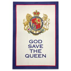 Buckingham Palace God Save The Queen Crest Tea Towel