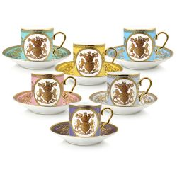 Lustre Pastel Coffee Cup and Saucer Set
