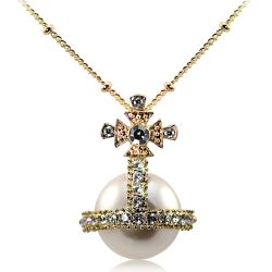 Royal Orb pendant necklace featuring a pearl sphere surmounted by a crystal embeded cross and a gold plated chain.