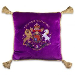 Buckingham Palace Purple Velvet Cushion