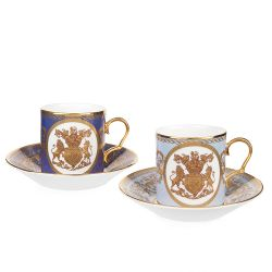 Lustre Coffee Cup and Saucer Two Set Purple and Pale Blue