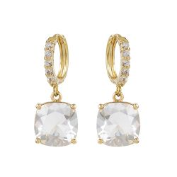 Buckingham Palace White Square Crystal Earrings