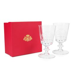 Buckingham Palace 70th Wedding Anniversary Pair Of Crystal Goblets