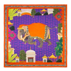 Splendours of the Subcontinent Elephant Silk Scarf