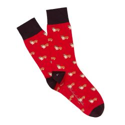 Bright Red Corgi Socks