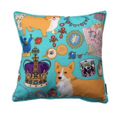 Karen Mabon 'Oh So Royal' Turquoise Cushion