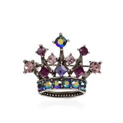 Small Purple Crystal Crown Brooch