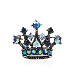 Small Blue Crystal Crown Brooch