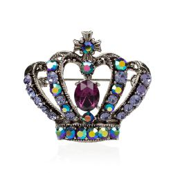 Large Purple Crystal Crown Brooch