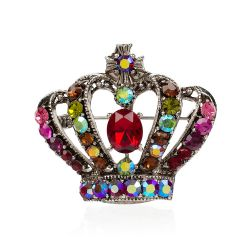 Large Red Crystal Crown Brooch