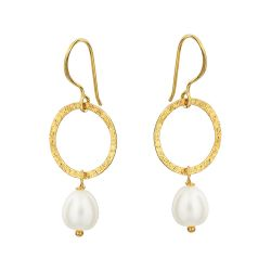 Hoop and Pearl Drop Earrings