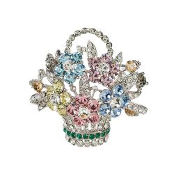 Pastel Flower Basket Brooch