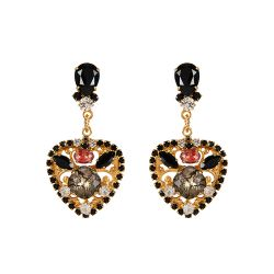 Vicki Sarge Black and Red Heart Drop Earrings